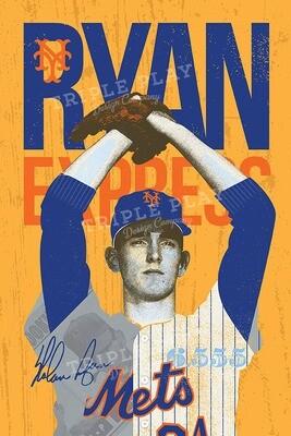Nolan Ryan: The Ryan Express Mets — Illustrated Art Print