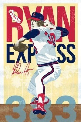 Nolan Ryan: The Ryan Express Angels — Illustrated Art Print