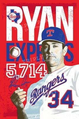 Nolan Ryan: The Ryan Express Rangers — Illustrated Art Print