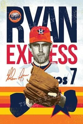 Nolan Ryan: The Ryan Express Astros — Illustrated Art Print