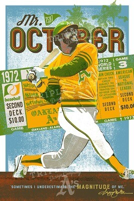 Reggie Jackson: Mr. October Oakland A's — Illustrated Art Print