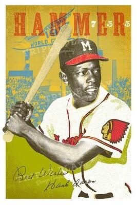 Hank Aaron: Hammer — Illustrated Art Print