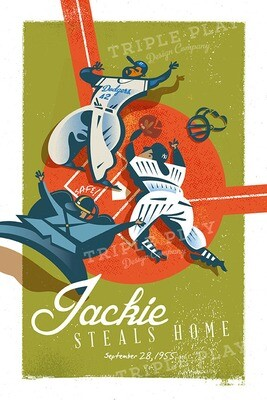 Jackie Robinson Steals Home! — Illustrated Art Print