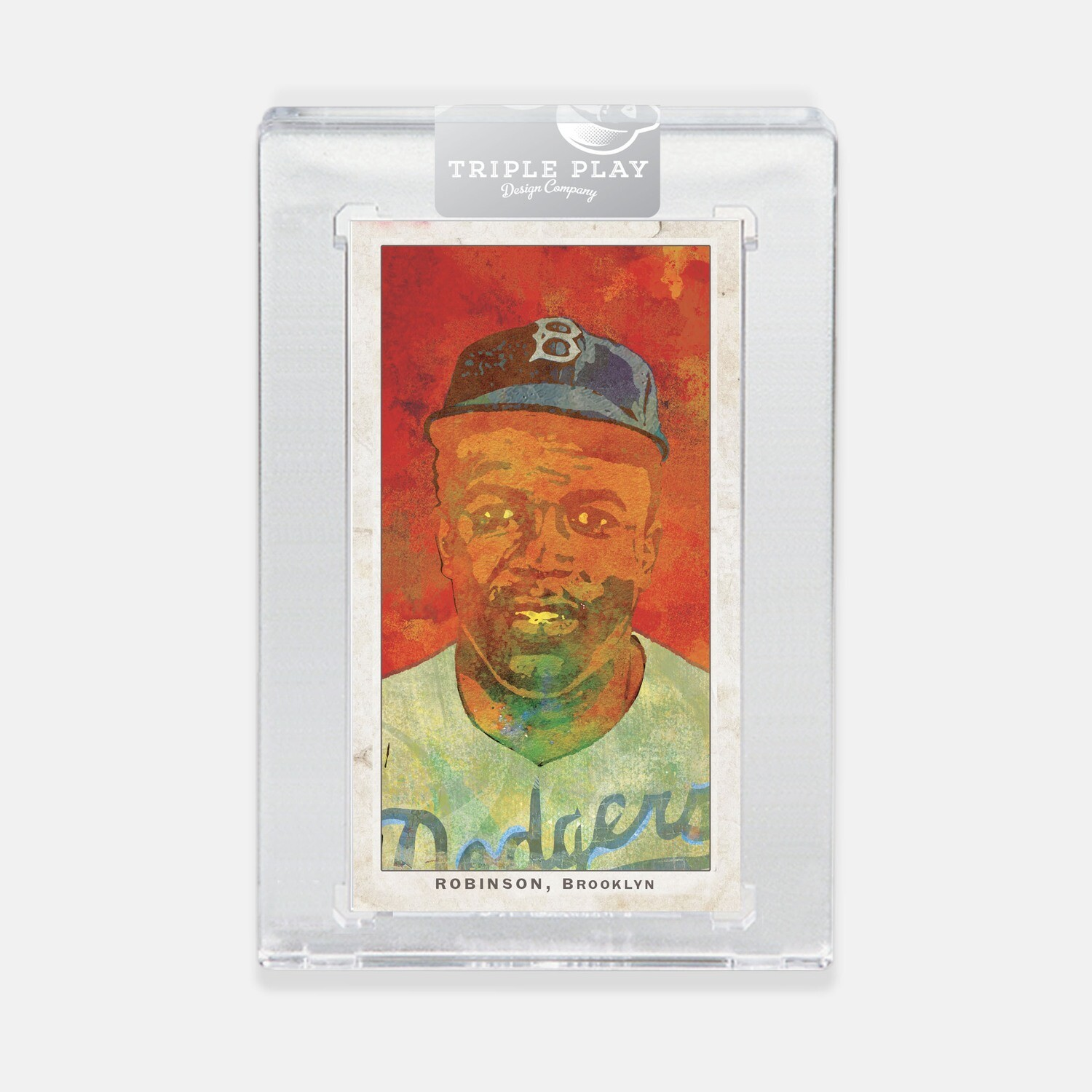 Jackie Robinson Opening Day — Red 2 Background — Premium T206-Sized Art Card