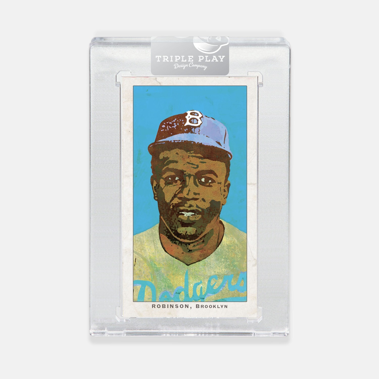 Jackie Robinson Opening Day — Blue Background — Premium T206-Sized Art Card