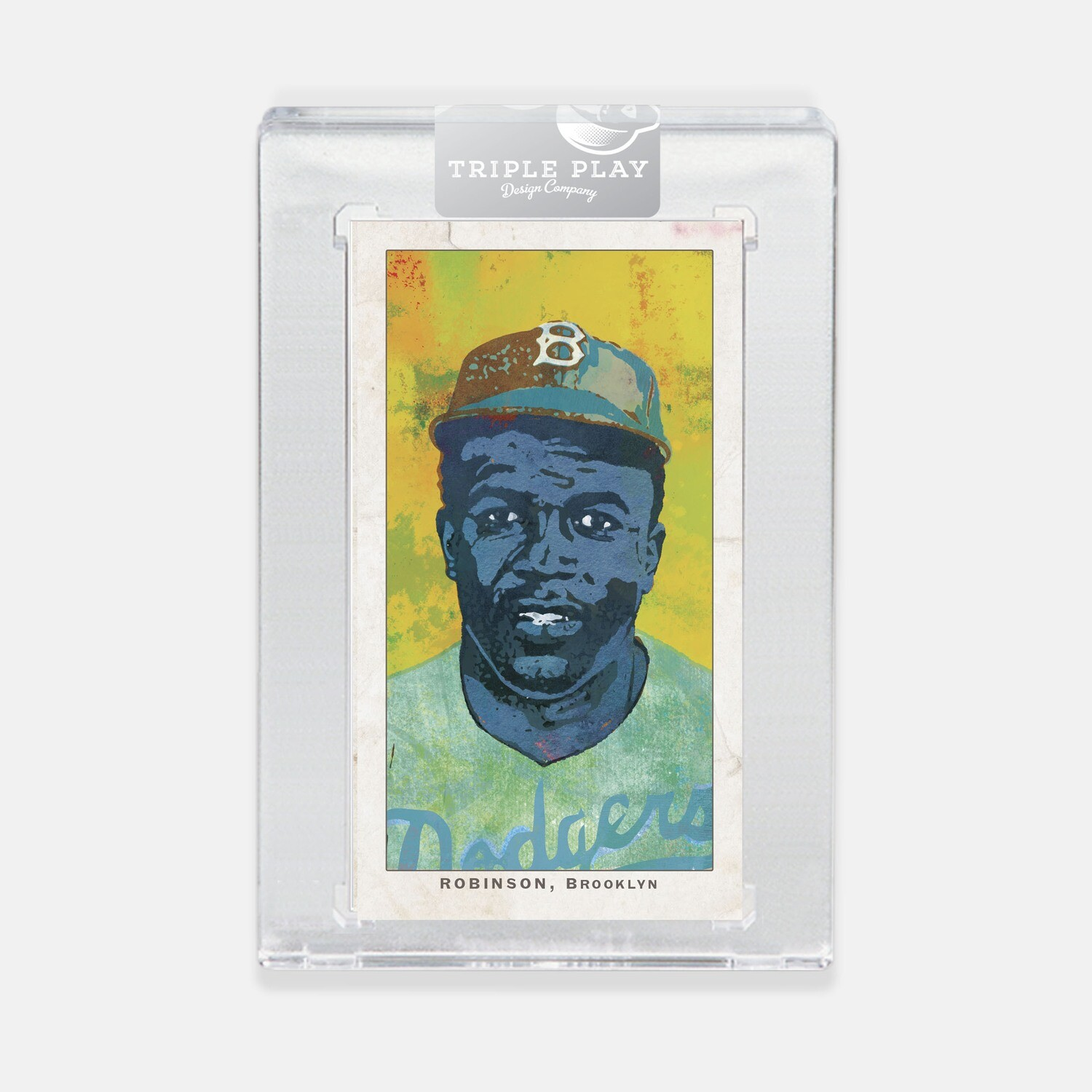 Jackie Robinson Opening Day — Yellow Background — Premium T206-Sized Art Card