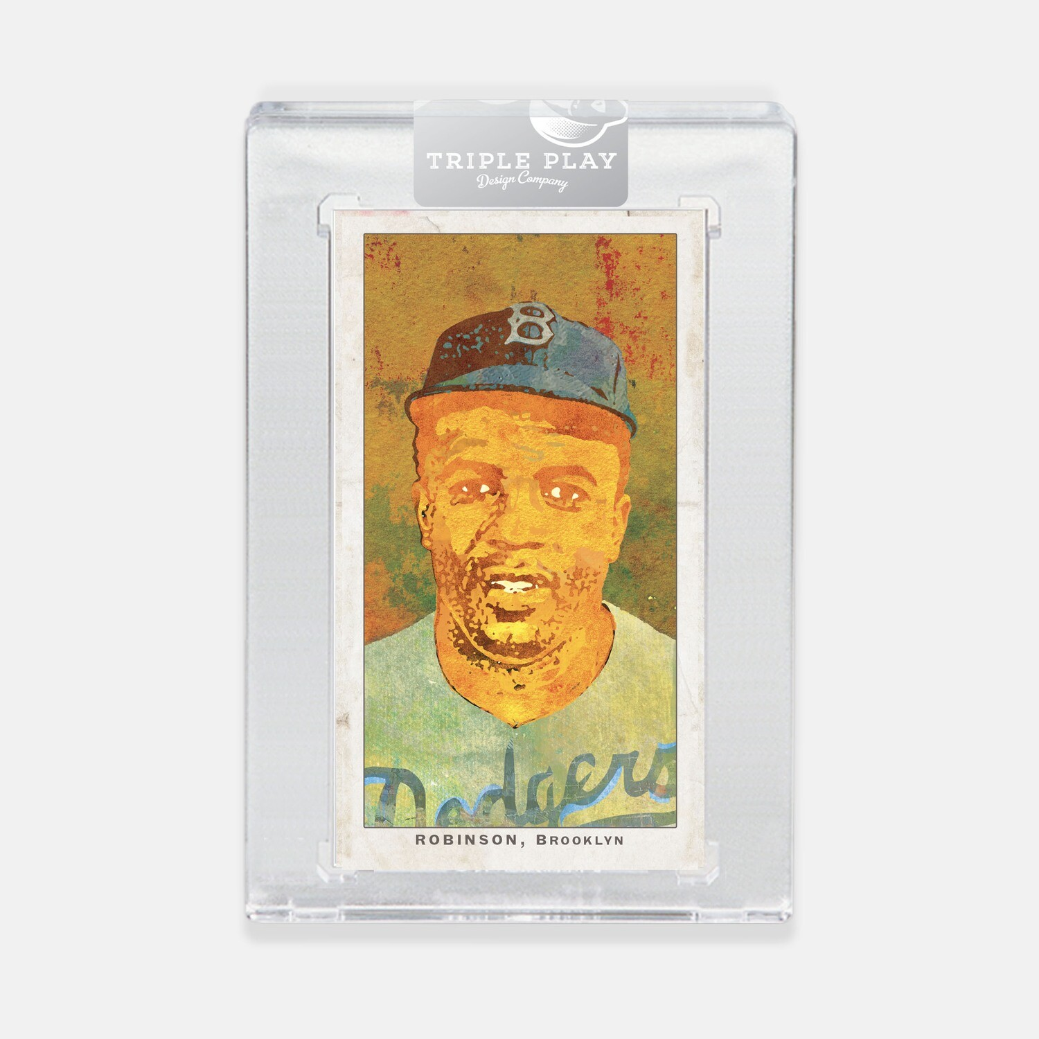Jackie Robinson Opening Day — Brown Background — Premium T206-Sized Art Card