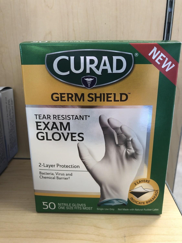 Curad Germ Guard Gloves, OSFM, 50 ct