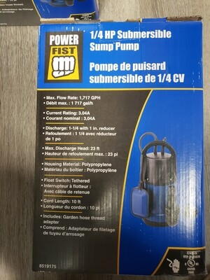 1/4 HP SUMP PUMP