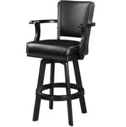 SWIVEL BARSTOOL WITH ARMS - BLACK