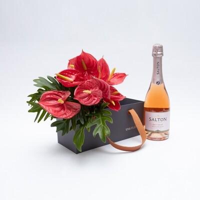 Caixa Presente com de antúrios vermelhos e espumante rosé