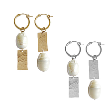 Misuzi- Pearl & Tag Mis-Match Earrings GOLD