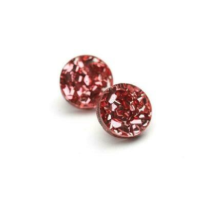 Circle Stud - Glitter Pink