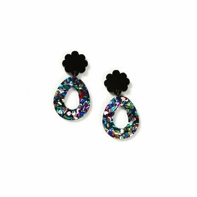 Daisy Earrings -Black Disco
