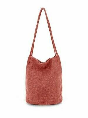 Natural Long Handle Bag - Red