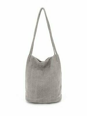 Natural Long Handle Bag - Grey