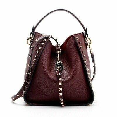 Inka Studded Bag (Wine Red)