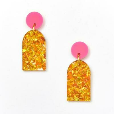 Arc Earring -  Pink / Amber