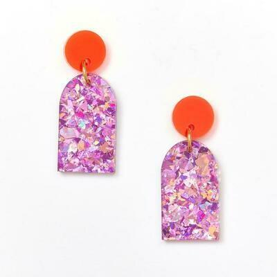 Arc Earring - Orange & Pink