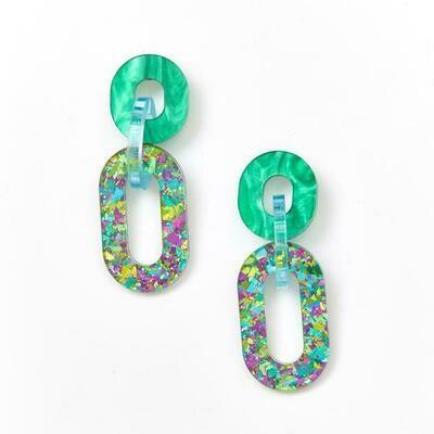 Jigsaw earrings - Peacock