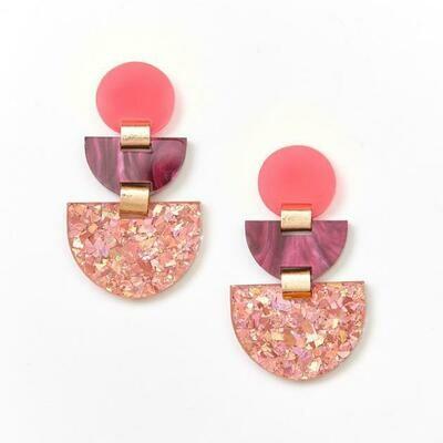 Boat Earrings - Pink