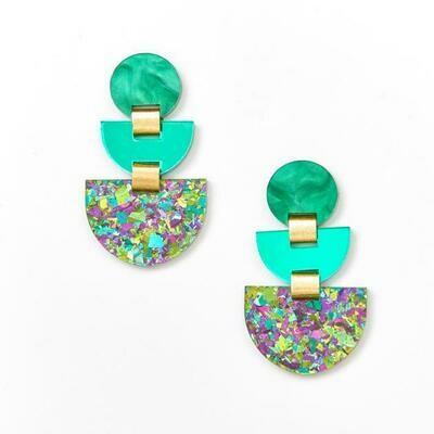 Boat Earrings - Peacock