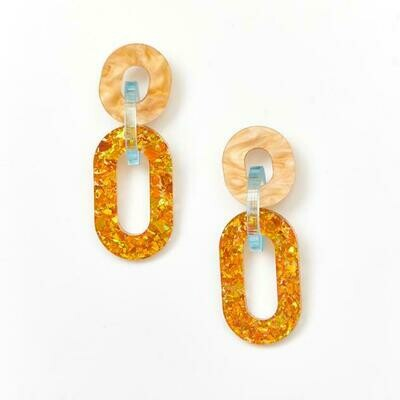 Jigsaw earrings -Amber