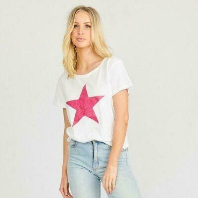 Stardust Crew Tee - White with Blush Star