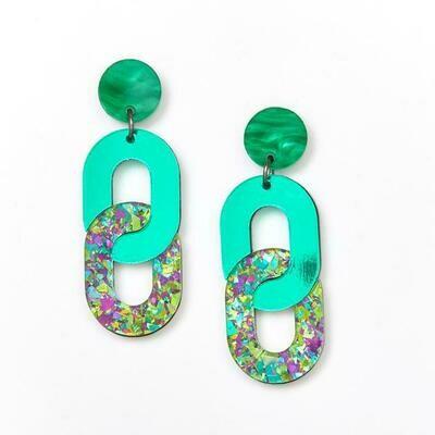 Chain Earrings - Peacock