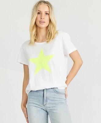 Stardust Crew Tee - White with Fluro Yellow Star