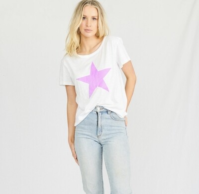 Stardust Crew Tee - White with Lilac Star