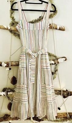 Maya Dress - Ecru Rainbow