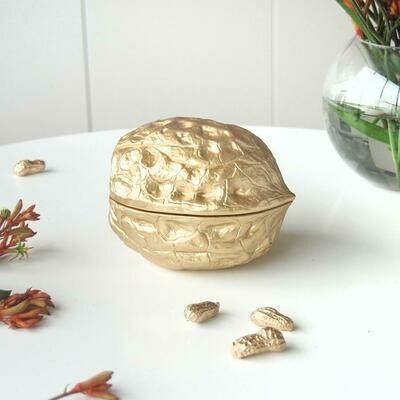 Walnut Secret Bowl - Gold