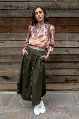 Avalon Midi Skirt - Khaki