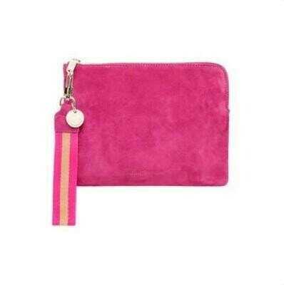 Paige Clutch with Wristlet - Hot Pink Suede