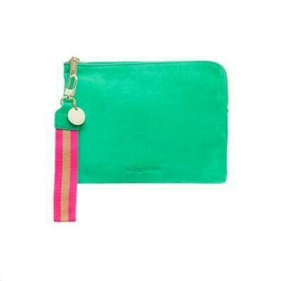 Paige Clutch with Wristlet - Emerald Suede