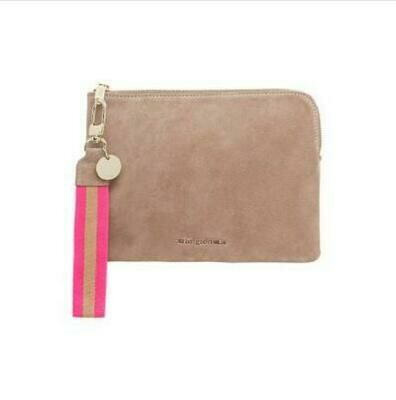 Paige Clutch with Wristlet - Fawn Suede
