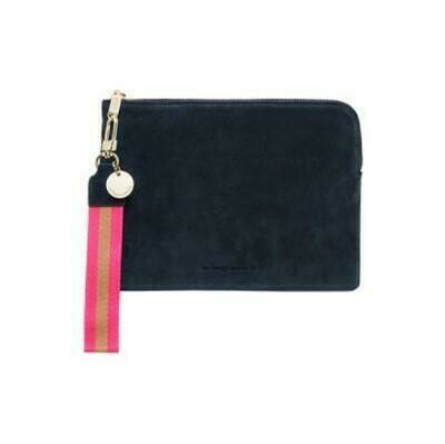 Paige Clutch with Wristlet - Navy  Suede