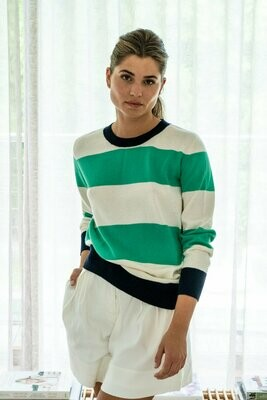 Rugby Knit - Green / Cream