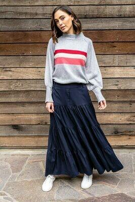 St Kilda Knit - Grey Multi Stripe