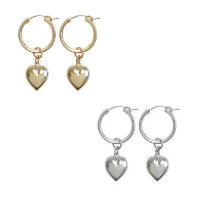 Paris Hoop Earring w Puff Heart - GOLD