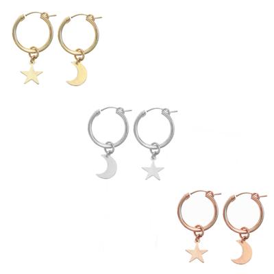 Paris Hoop earring- Moon & Star  - GOLD