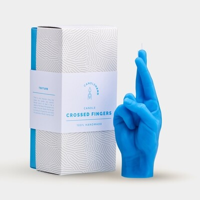 Crossed Fingers Candlehand - Blue