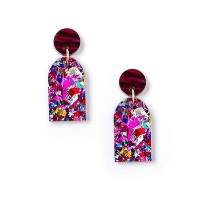 Arc Earrings - Plum/Fuschia