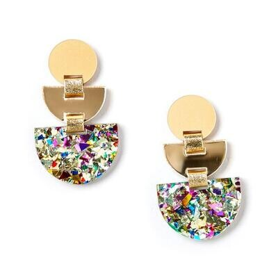 Boat Earrings - Gold/Confetti