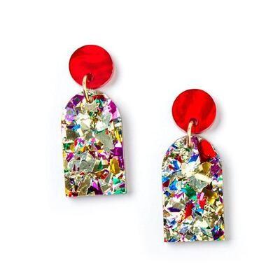 Arc Earrings - Gold/Confetti