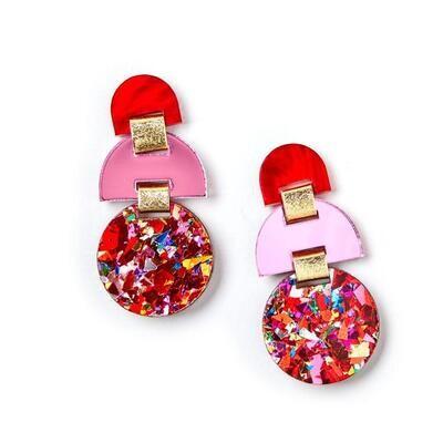 Half Moon Earrings - Scarlet/ Pink