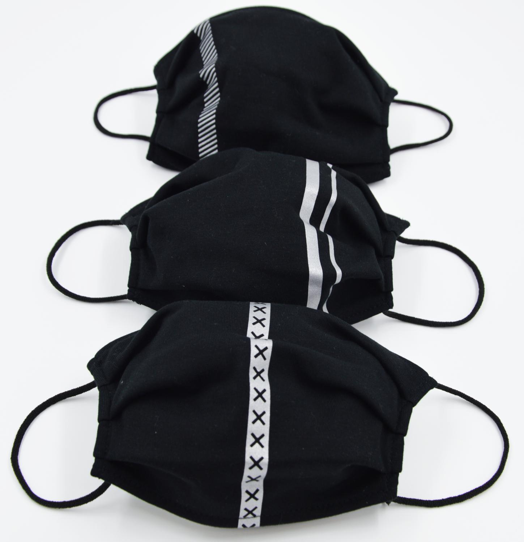 Set 3 pezzi - Mascherine Lavabili Decorate Catarifrangente - Adulti - Protezione della collettività