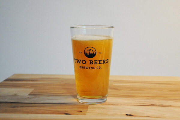 Two Beers Brewing Co.  16oz Pint Glass