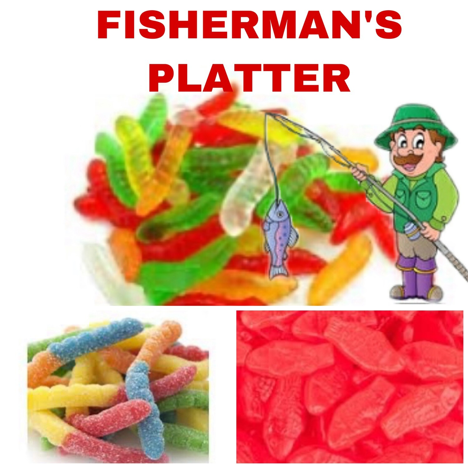 Candy Cup - Fisherman - Worms, Sour worms & Swedish Fish